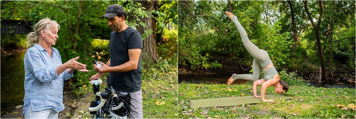 Creative Headshot Photography Minneapolis biking and yoga