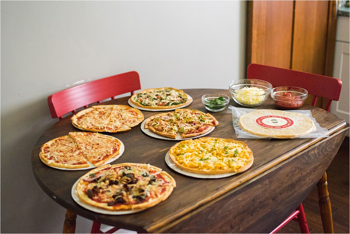 Minneapolis Food and Lifestyle Photography pizzas on display