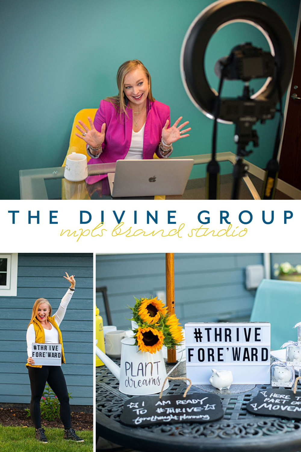 These photos are from two brand photography sessions we did for Shannon of Forethought Planning so she could create consistent content for her finance firm and her podcast, Thrive For[e]ward. Check out the images and stories from our session on the blog. | The Divine Group | Minneapolis brand photography | #brandphotography #personalbrand #brandsession | https://thedivinegroup.co/ twin-cities-brand-photography-for-financial-advisor-change-maker-and-podcaster